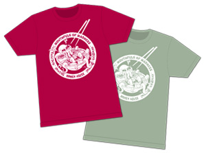 Deep Red & Stonewash Green M.O.M. Ramen House tees